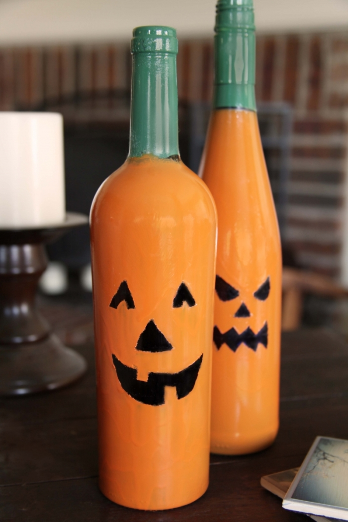 Pumpkin wine bottles