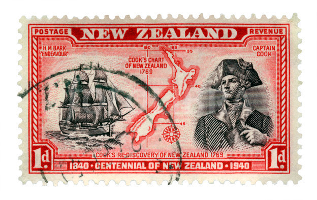 Stamp with explorer Captain Cook